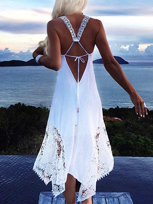 Beach Asymmetrical Halter Solid Color Lace Boho Dresses (Style V100156)