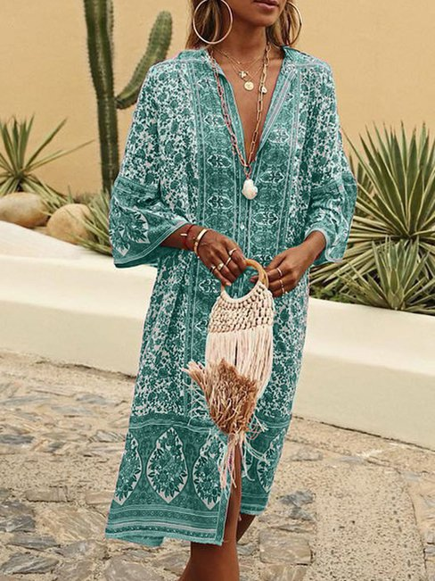 Beach Shirt Deep V Neck Pattern Polyester Boho Dresses (Style V100166)