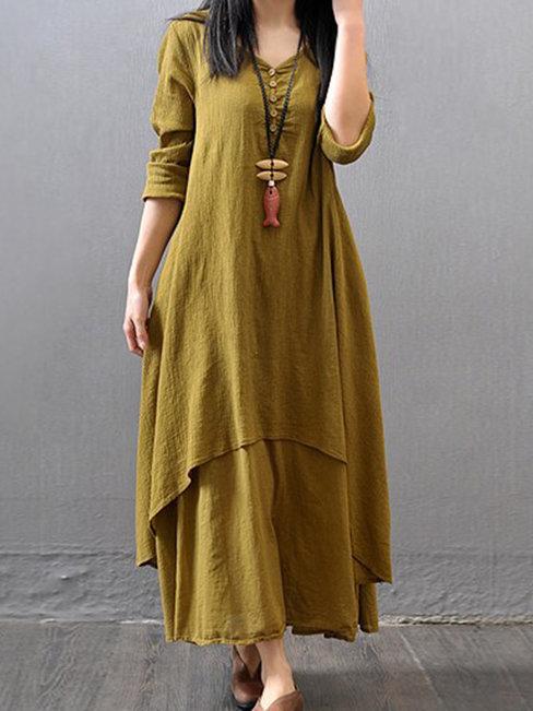 Fashion Shift V-neck Button Linen Maxi Dresses (Style V100258)