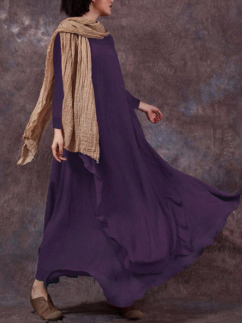 Shift Round Neck Solid Color Wavy Edge Polyester Maxi Dresses (Style V100261)