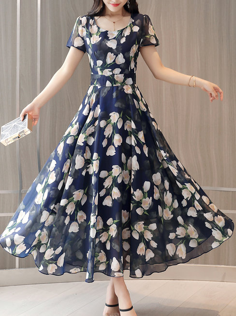 Modest A-line Round Neck Pattern Chiffon Casual Dresses (Style V100369)