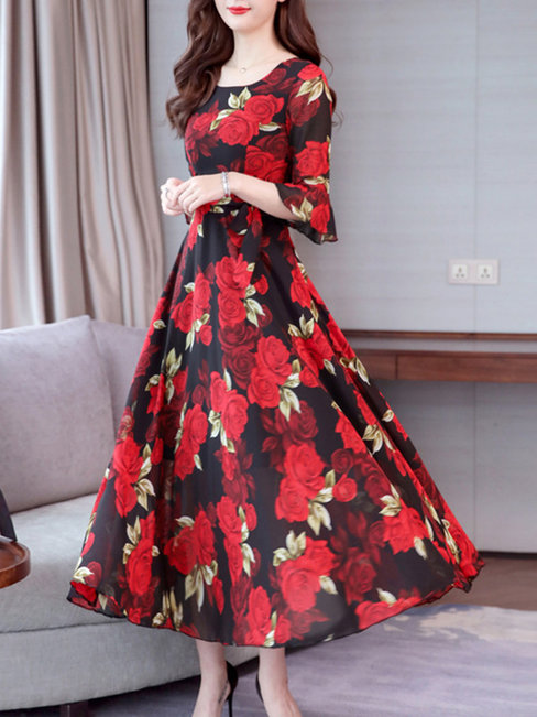 A-line Round Neck Printed Pattern Polyester Maxi Dresses (Style V100372)