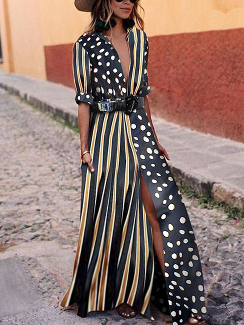 Beach Shirt Collar Pattern Polyester Maxi Dresses (Style V100386)