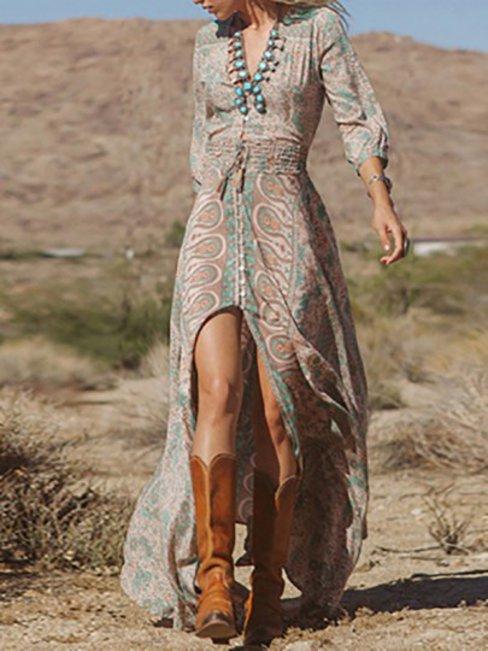 Beach Flowy Printed Pattern Chiffon Maxi Dresses (Style V100403)