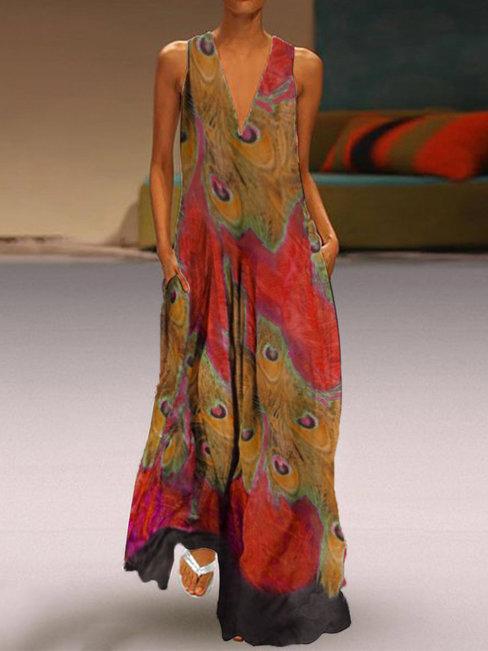 Oversized Shift Deep V Neck Animal Pockets Casual Dresses (Style V100412)