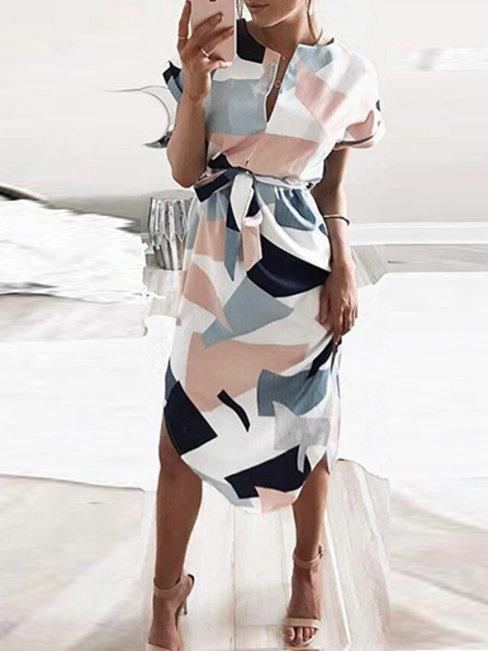 Party Shift Striped Pattern Cotton Blends Midi Dresses (Style V100502)