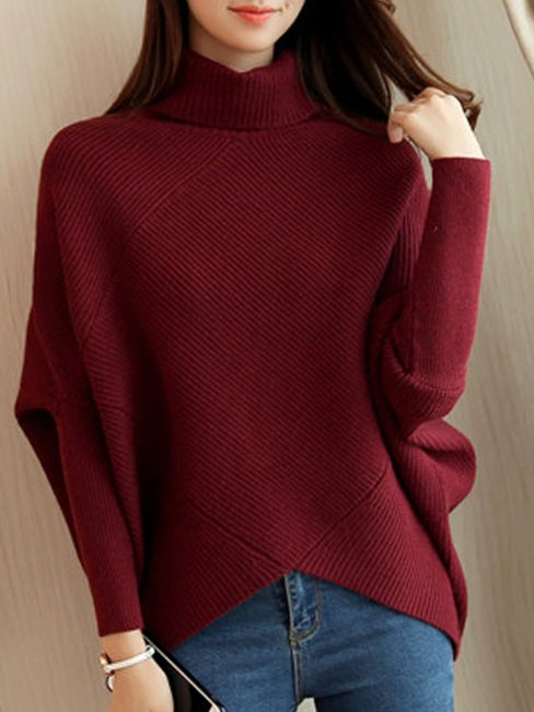 Standard Loose Date Night Polyester Asymmetrical Sweater (Style V100874)