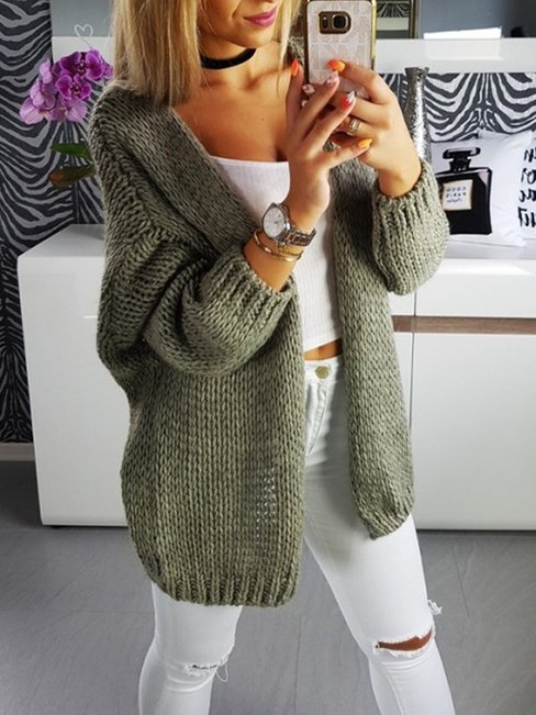 Standard Loose Plus Size Plain Cotton Blends Sweater (Style V100882)