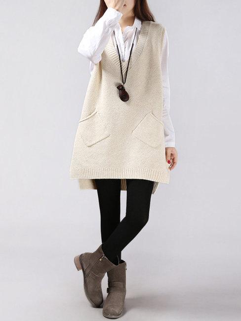 V-neck Long Plain Cotton Pockets Sweater (Style V100922)