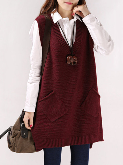 V-neck Long Plain Cotton Pockets Sweater (Style V100922)