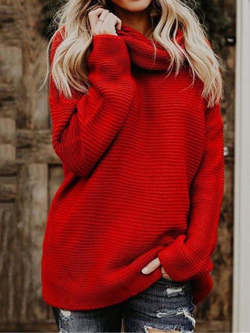 Turtleneck Long Loose Casual Acrylic Sweater (Style V100959)
