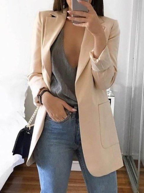 Long Slim Office Plain Pockets Coat (Style V101175)