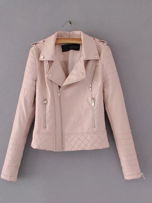 Short Loose Casual PU Leather Zipper Jacket (Style V101185)