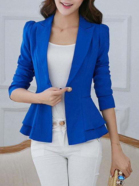 Shawl Collar Short Slim Office Polyester Jacket (Style V101194)