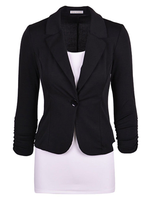Slim Office Plain Cotton Blends Cascading Ruffle Jacket (Style V101197)