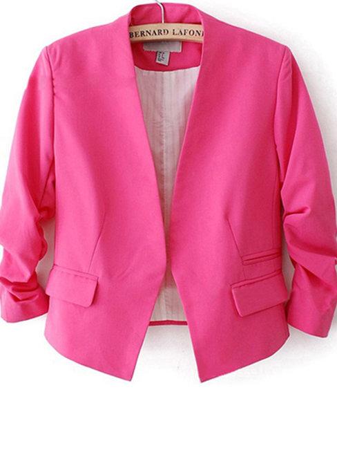 Short Slim Office Plain Cotton Jacket (Style V101209)