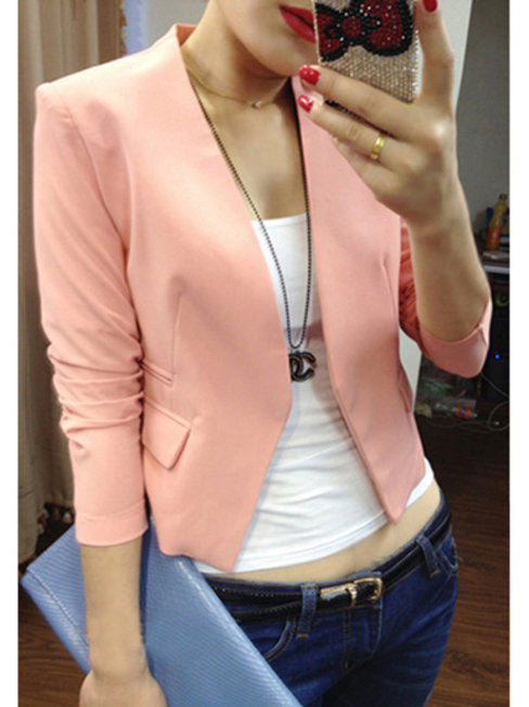 Short Slim Office Plain Cotton Jacket (Style V101209)