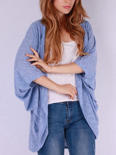 Long Loose Casual Plain Acrylic Coat (Style V101212)