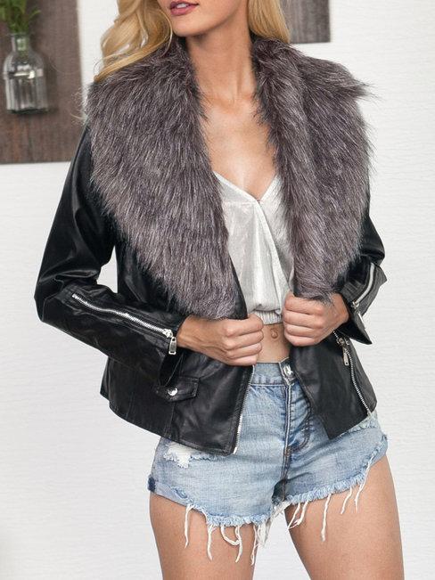 Shawl Collar Short Slim Date Night Zipper Jacket (Style V101222)