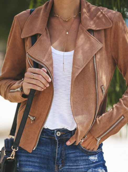 Shawl Collar Slim Party Polyester Zipper Jacket (Style V101247)
