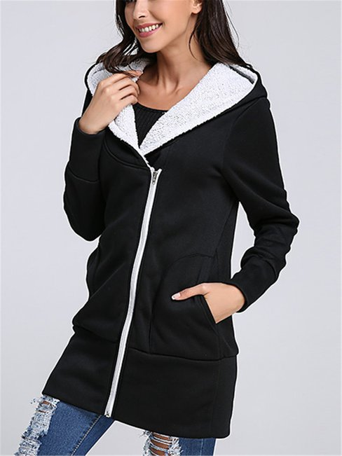 Hooded Straight Cute Plain Pockets Coat (Style V101251)