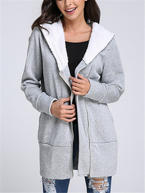 Hooded Straight Cute Plain Pockets Coat (Style V101251)