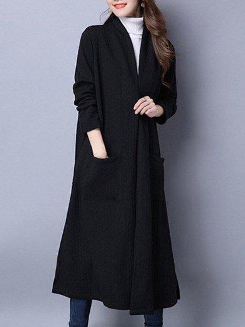 Long Loose Plain Polyester Pockets Coat (Style V101255)