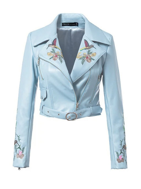 Shawl Collar Short Slim Plain PU Leather Jacket (Style V101347)