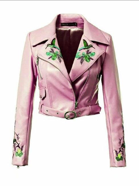 Shawl Collar Short Slim Plain PU Leather Jacket (Style V101347)