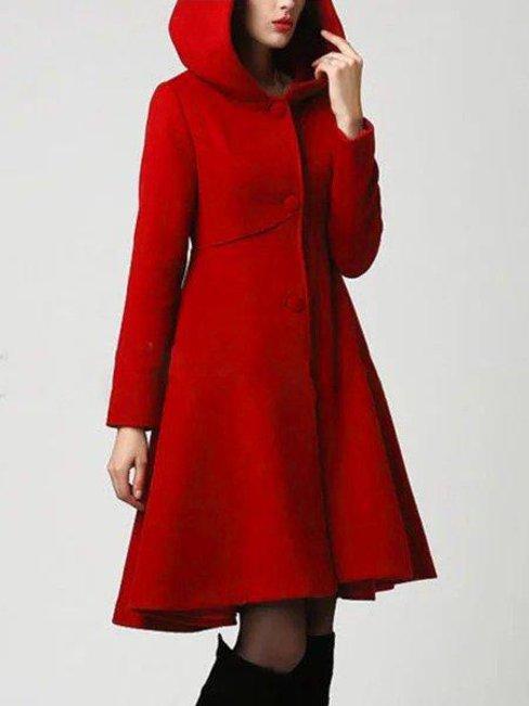 Hooded Long Elegant Polyester Button Coat (Style V101369)