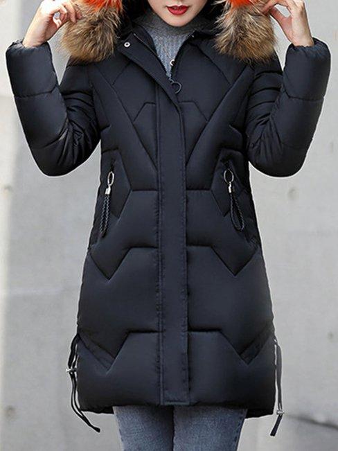 Hooded Long Slim Elegant Dacron Coat (Style V101375)