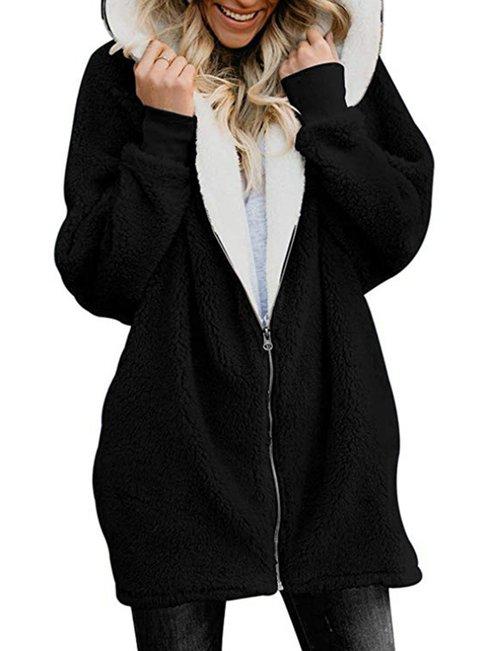 Hooded Long Plain Dacron Zipper Coat (Style V101387)