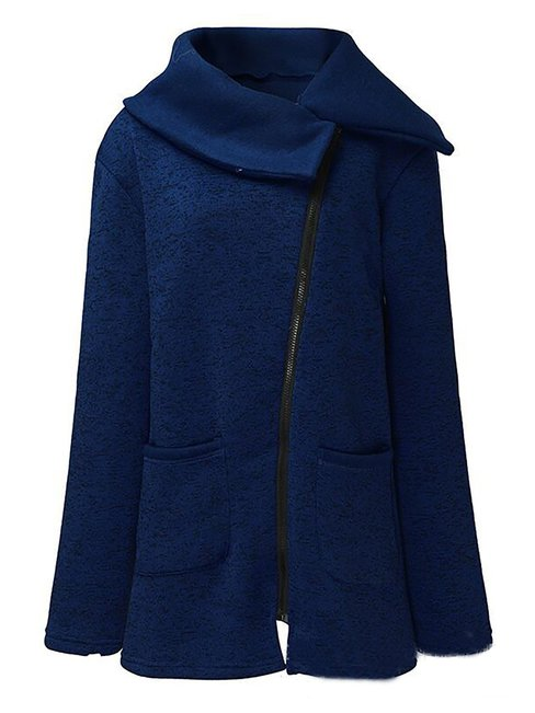 Long Slim Elegant Snowflake Asymmetrical Coat (Style V101393)