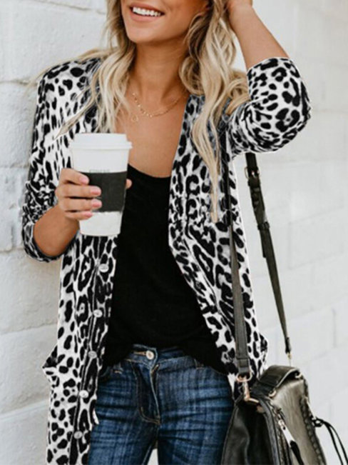 Long Loose Sexy Leopard Dacron Coat (Style V101430)
