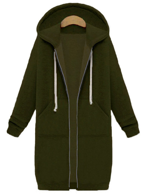 Hooded Loose Fashion Cotton Pockets Coat (Style V101492)