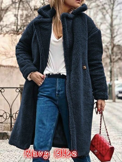 Shawl Collar Long Plain Wool Button Coat (Style V101535)