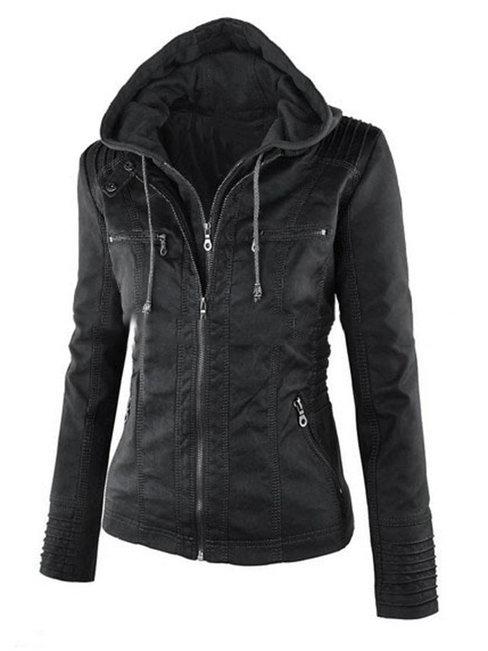 Short Slim Casual Plain Pockets Jacket (Style V101563)
