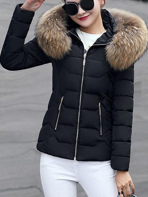 Hooded Slim Date Night Plain Dacron Coat (Style V101679)