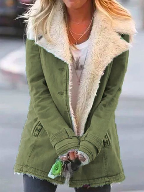 Standard Slim Casual Plain Dacron Coat (Style V102452)