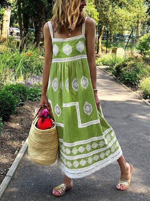 Beach Flowy Printed Lace Polyester Casual Dresses (Style V102471)
