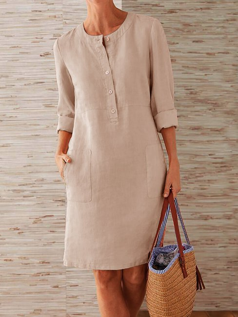 Casual Round Neck Solid Color Button Polyester Midi Dresses (Style V102472)