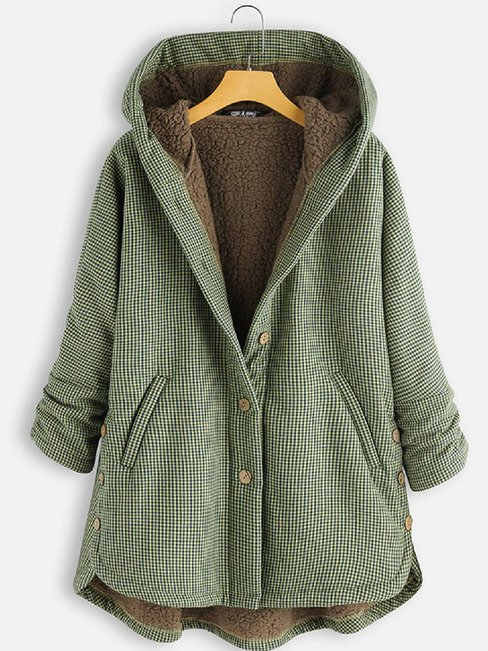 Hooded Loose Fashion Cotton Blends Pattern Coat (Style V102484)