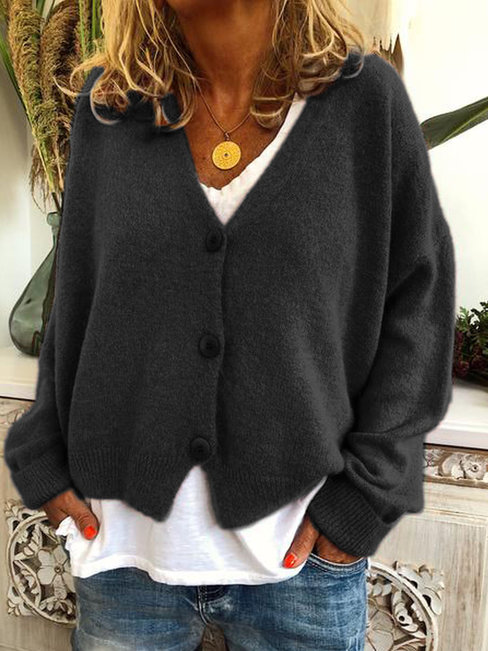 Loose Date Night Plain Knitted Button Sweater (Style V102501)