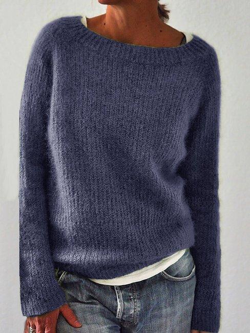 Round Neck Short Fashion Plain Cotton Sweater (Style V102510)