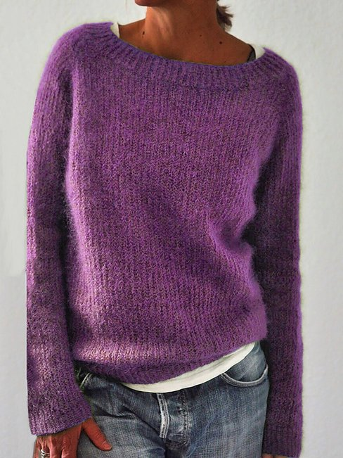 Round Neck Short Fashion Plain Cotton Sweater (Style V102510)
