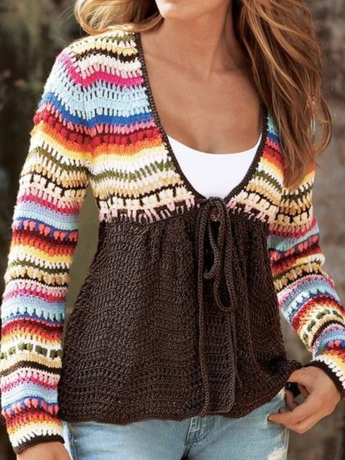 V-neck Short Date Night Colorful Knitted Sweater (Style V102517)