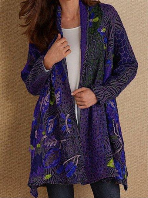 Midi Date Night Floral Cotton Pattern Coat (Style V102561)