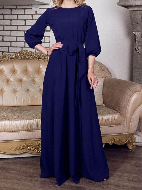 Vintage A-line Round Neck Plain Polyester Maxi Dresses (Style V200642)