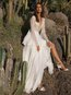 Sexy A-line Deep V Neck Patchwork Chiffon Maxi Dresses (Style V100002)