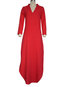 Cute Straight Deep V Neck Cut Out Linen Maxi Dresses (Style V100293)